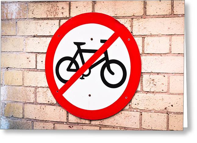 Prohibit Greeting Cards - No cycling Greeting Card by Tom Gowanlock