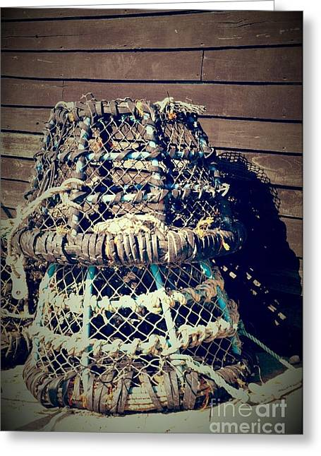 """""""crab Nets"""" Greeting Cards - No dinner tonight Greeting Card by Heather Watson"""