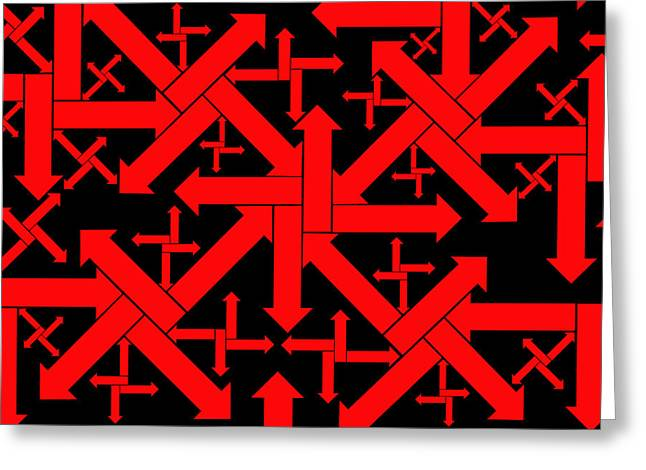 Arrow Abstract Greeting Cards - No Direction 1 Greeting Card by Mike McGlothlen