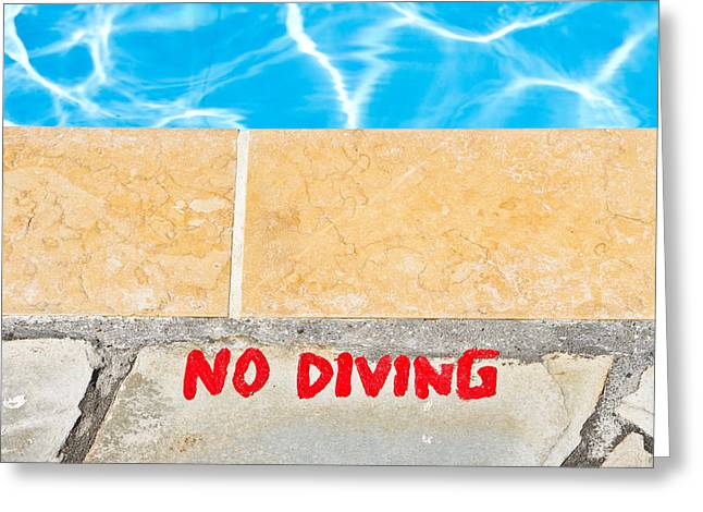 Legislation Greeting Cards - No diving Greeting Card by Tom Gowanlock