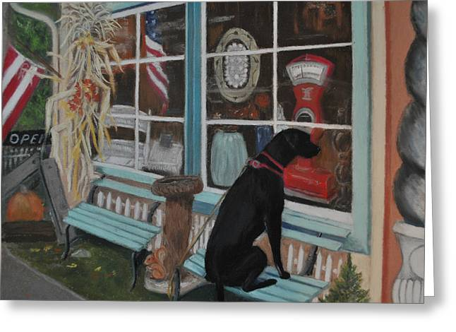 Store Fronts Pastels Greeting Cards - No Dogs Allowed Greeting Card by Teresa LeClerc
