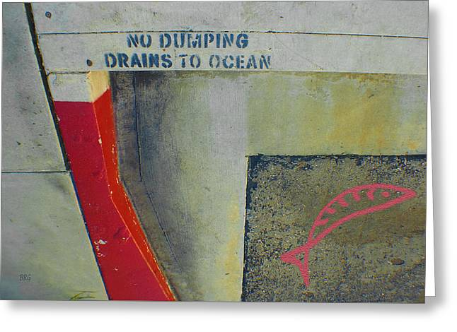 Drain Greeting Cards - No Dumping - Drains To Ocean No 2 Greeting Card by Ben and Raisa Gertsberg