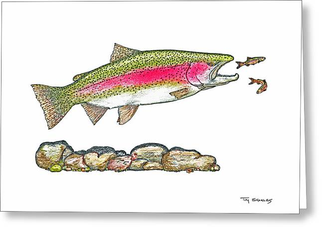 Flyfishing Pastels Greeting Cards - No Escape Greeting Card by Tim Shoales