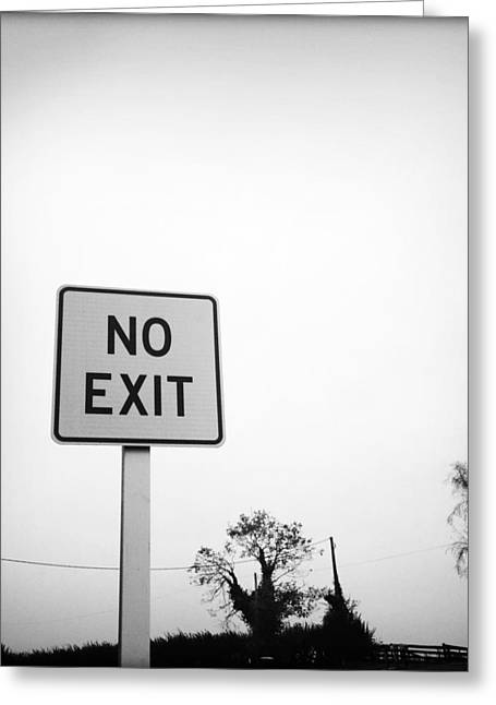 Problem Greeting Cards - No exit Greeting Card by Les Cunliffe