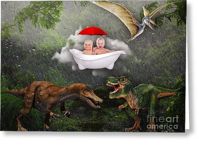 Dinosaurs Mixed Media Greeting Cards - No Fear Greeting Card by Marvin Blaine