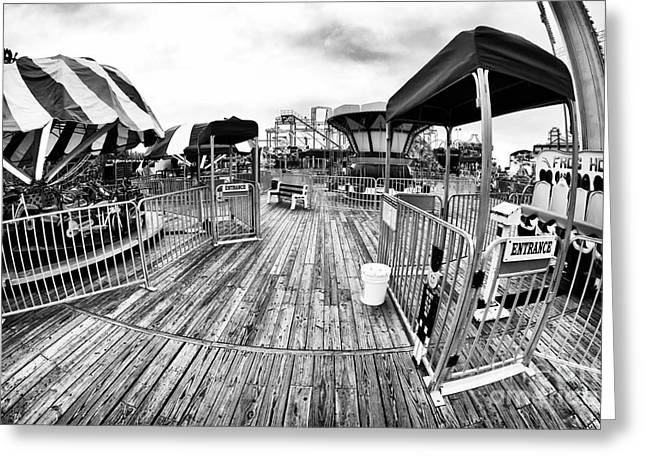 Seaside Heights Greeting Cards - No Free Rides Greeting Card by John Rizzuto