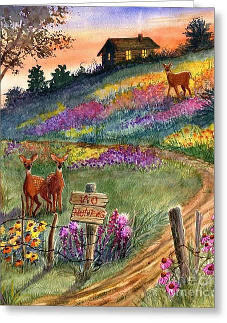 Old Fence Posts Paintings Greeting Cards - No Hunting Greeting Card by Marilyn Smith