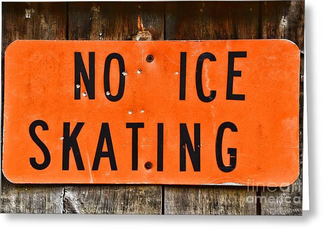 Ice-skating Greeting Cards - No Ice Skating  Greeting Card by Paul Ward