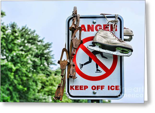 Antique Skates Photographs Greeting Cards - No Ice Skating Today Greeting Card by Paul Ward
