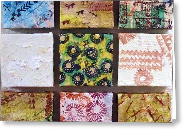 Abstract Shapes Tapestries - Textiles Greeting Cards - No Kapa Left Behind Greeting Card by Dalani Tanahy