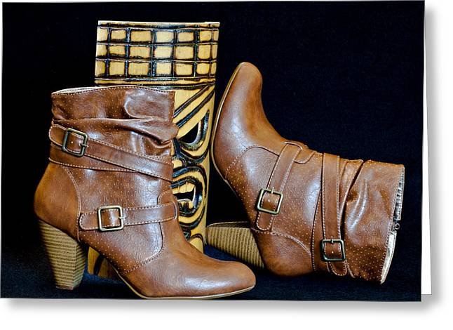 Straps Greeting Cards - Brown Boots with Mask Greeting Card by Patti Deters