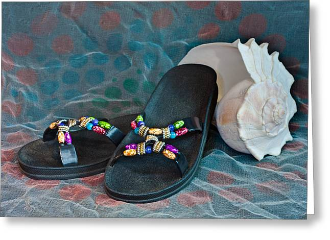 Open Toe Shoes Greeting Cards - Flip Flop Conch Shell Greeting Card by Patti Deters