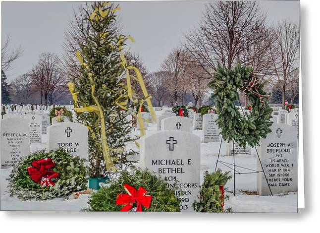 Snowy Day Greeting Cards - Yellow Ribbon Tree Cemetery Greeting Card by Patti Deters