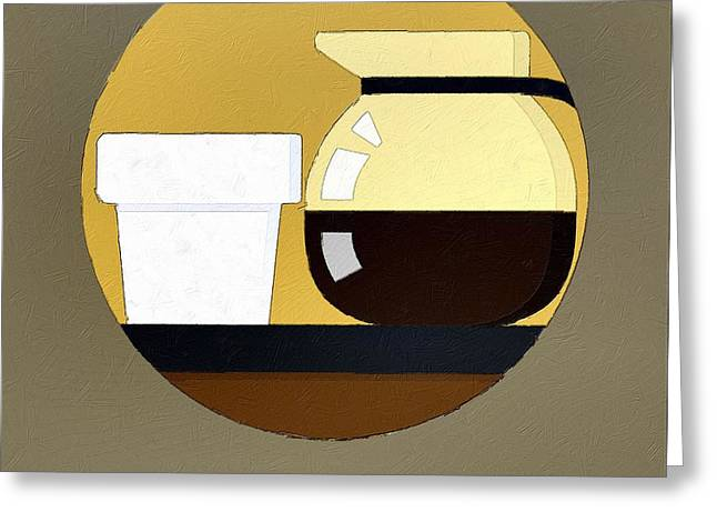 Coffee Drinking Digital Art Greeting Cards - No Life Before Coffee Greeting Card by Florian Rodarte