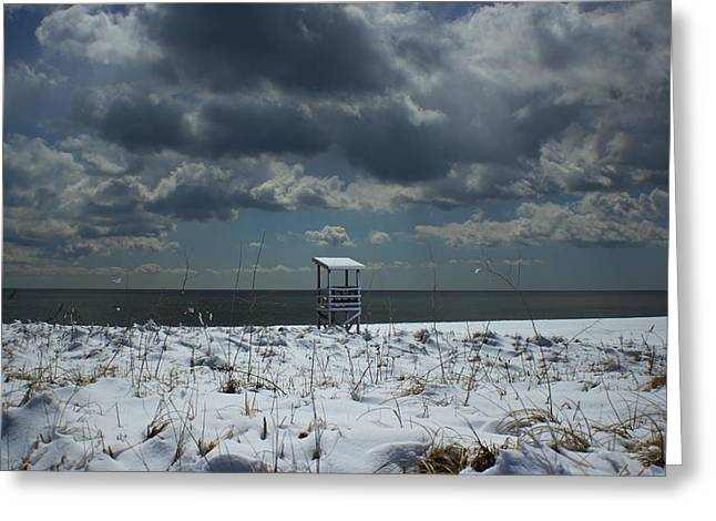 Storm Clouds Cape Cod Greeting Cards - No Lifeguard on Duty Greeting Card by Amazing Jules