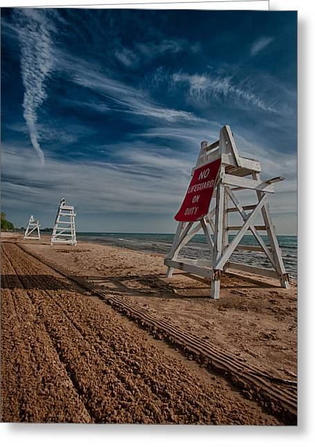 Evanston Greeting Cards - No Lifeguard On Duty Greeting Card by Mike Burgquist