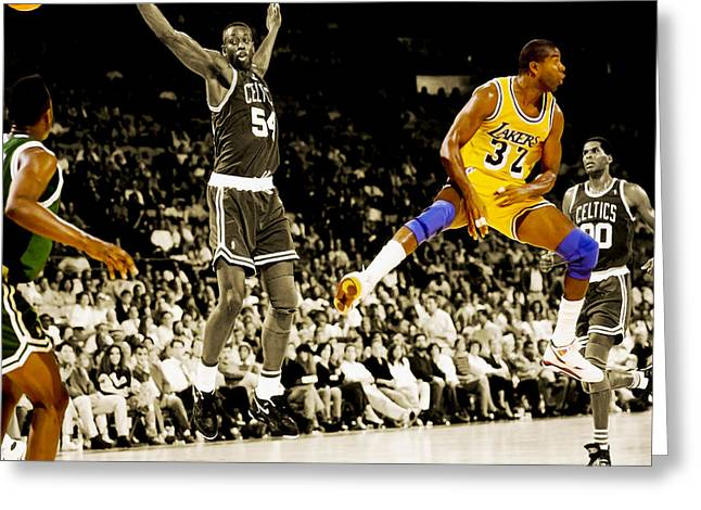 Karl Malone Greeting Cards - No Look Pass 2 Greeting Card by Brian Reaves