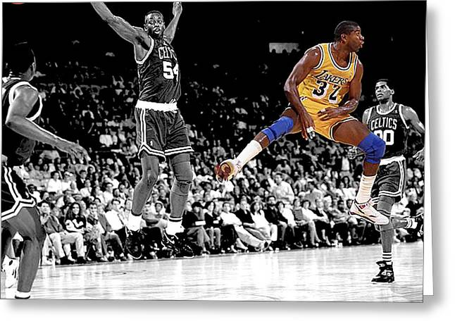 Lakers Greeting Cards - No Look Pass Greeting Card by Brian Reaves