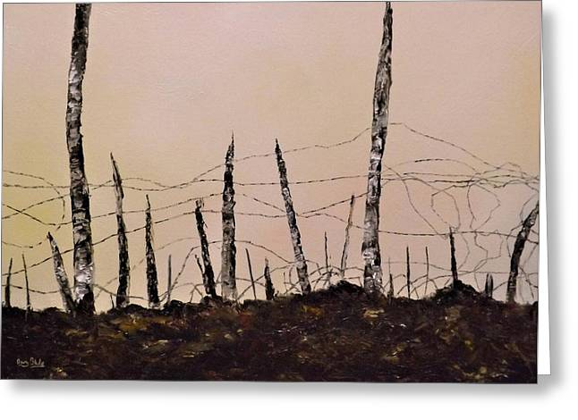 World War One Paintings Greeting Cards - No Mans Land Greeting Card by Barry BLAKE