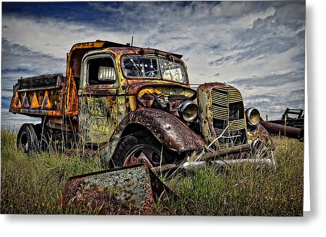 Old Trucks Greeting Cards - No More Loads to Dump Greeting Card by Ken Smith