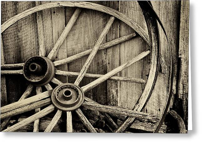 Wooden Wheels Greeting Cards - No more miles left Greeting Card by Paul W Faust -  Impressions of Light