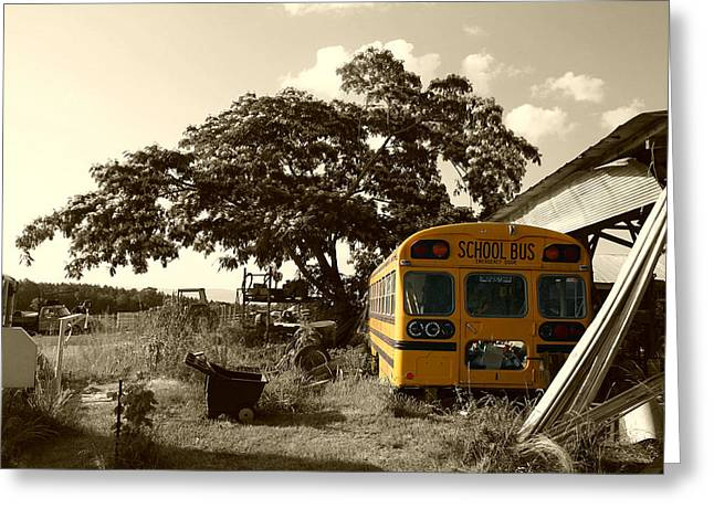 Rural School Bus Greeting Cards - No More Students Greeting Card by Nina Fosdick