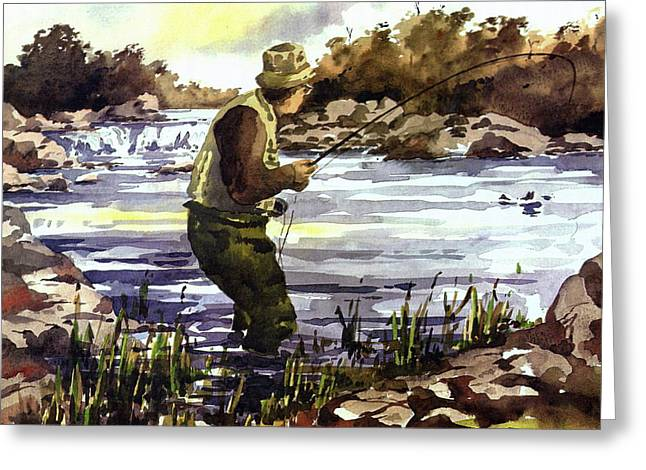 Salmon Paintings Greeting Cards - MAYO  Fishing the Moy Greeting Card by Val Byrne