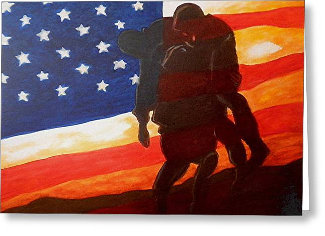 Wounded Warrior Greeting Cards - No One gets left Behind Greeting Card by Al  Molina