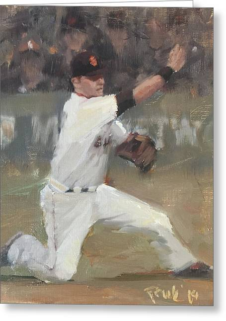 Baseball Paintings Greeting Cards - No Panic Greeting Card by Darren Kerr