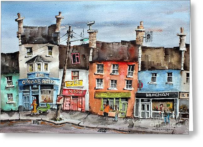 Ennistymon Greeting Cards - Clare  No Parking in Ireland Greeting Card by Val Byrne