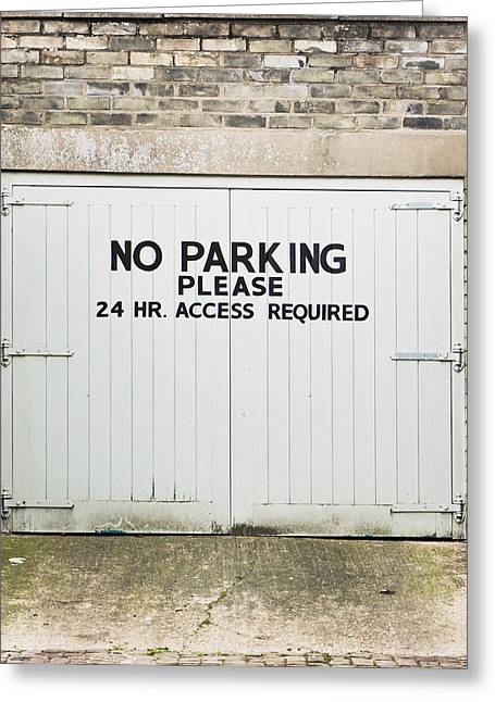 Instructions Greeting Cards - No parking Greeting Card by Tom Gowanlock