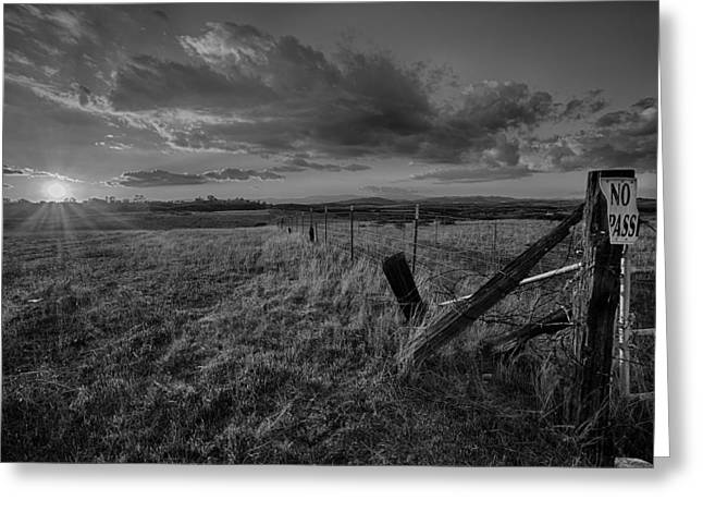 Temecula Greeting Cards - No Pass Black and White Greeting Card by Peter Tellone
