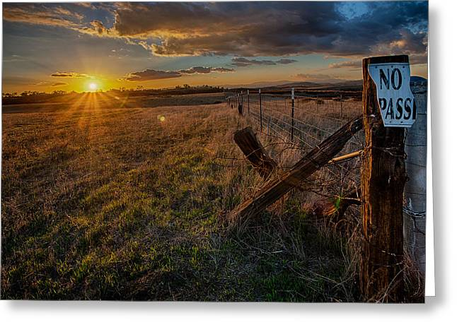 No Pass II Greeting Card by Peter Tellone