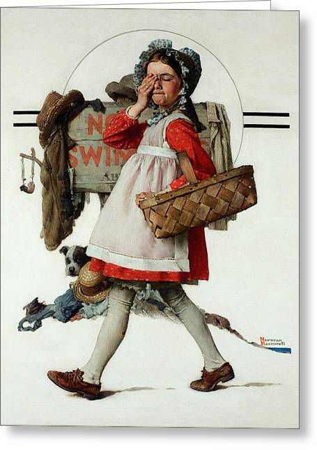 Norman Drawings Greeting Cards - No Peeking by Norman Rockwell Greeting Card by Nomad Art And  Design