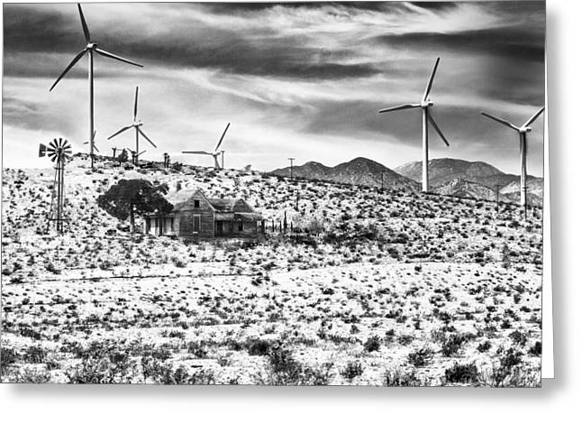 Archangel Greeting Cards - NO PLACE LIKE HOME BW Palm Springs Desert Hot Springs Greeting Card by William Dey