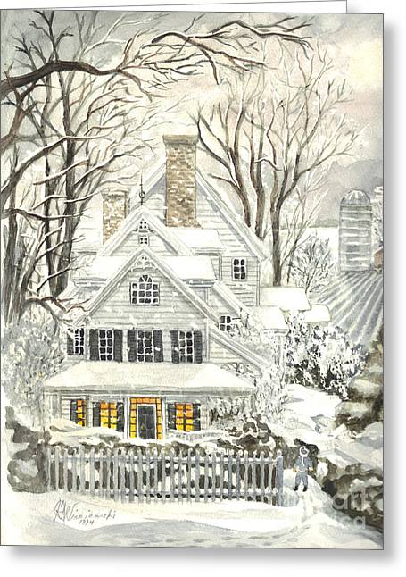 White Frame House Drawings Greeting Cards - No Place Like Home For The Holidays Greeting Card by Carol Wisniewski