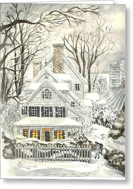 Snowstorm Posters Greeting Cards - No Place Like Home For The Holidays Greeting Card by Carol Wisniewski