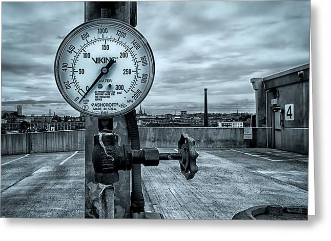 No Pressure or the Valve at the top of the city  Greeting Card by Bob Orsillo