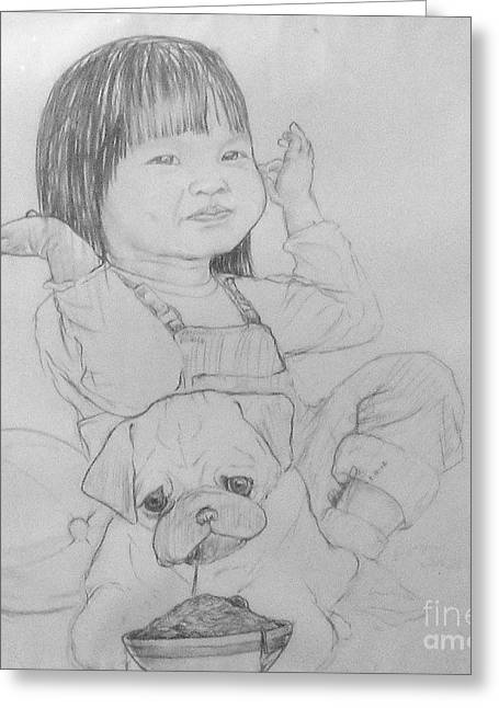 Puppies Drawings Greeting Cards - No Puppy Bowl Greeting Card by Art Johnson