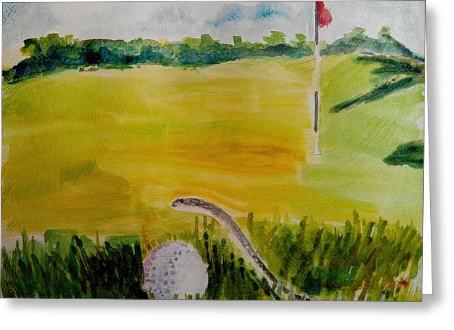 Snake Flag Greeting Cards - No Relief as per Rules of Golf Greeting Card by Geeta Biswas