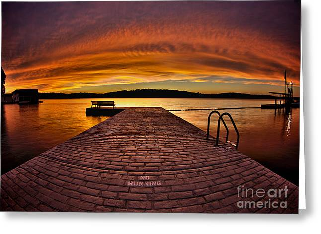 Stone Bench Greeting Cards - No Running Greeting Card by Mark Miller
