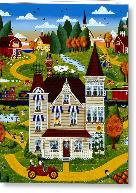 School Houses Paintings Greeting Cards - No School Today Greeting Card by Merry  Kohn Buvia