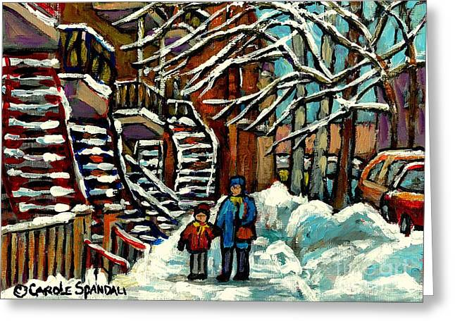 Verdun Connections Greeting Cards - No School Today Out For A Snowy Walk Verdun Winter Winding Staircases Montreal Paintings C Spandau Greeting Card by Carole Spandau