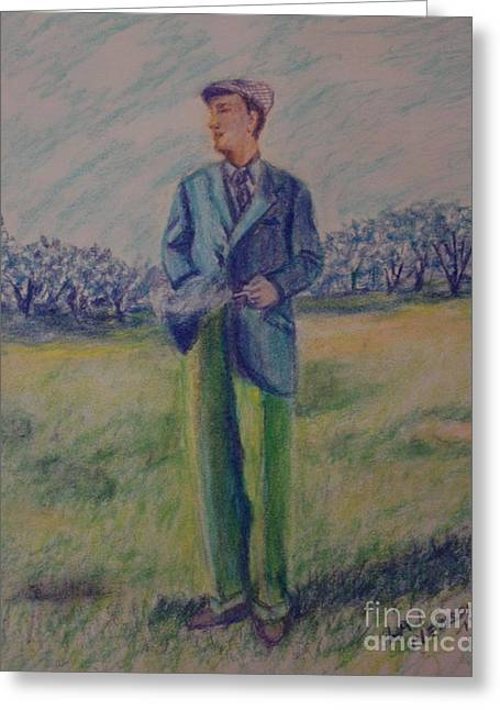 Suit Pastels Greeting Cards - No smoking on the golf course Greeting Card by Lee Ann Newsom