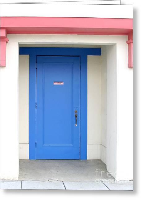 Entrance Door Greeting Cards - No Solicitors Greeting Card by Henrik Lehnerer