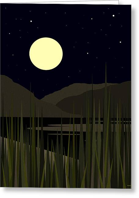 Olive Green Greeting Cards - No Swimming After Dark Greeting Card by Val Arie