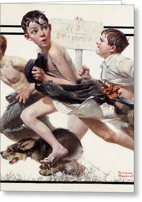 Running Dog Greeting Cards - No Swimming by Norman Rockwell Greeting Card by Nomad Art And  Design