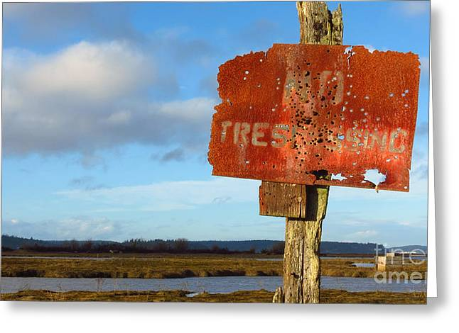 Must Have Greeting Cards - No Trespassing  Greeting Card by Aleksey Lavochin
