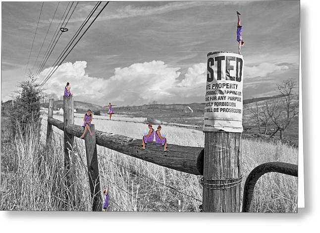 Powerline Greeting Cards - No Trespassing Greeting Card by Betsy C  Knapp