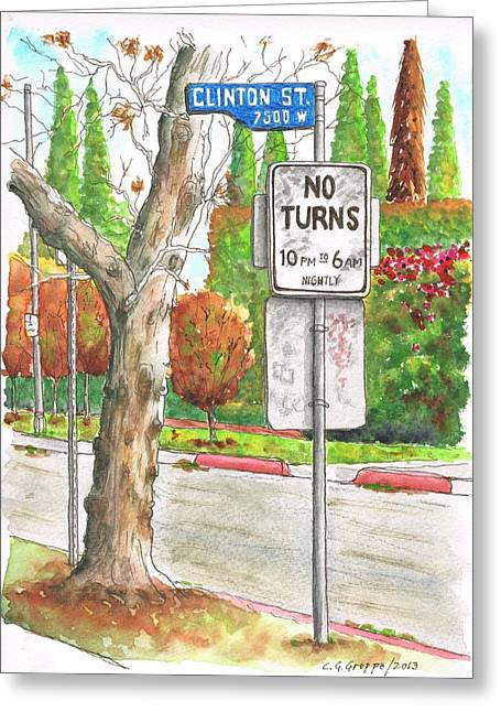 Architecrure Greeting Cards - No Turn sign in Clinton Street - West Hollywood - California Greeting Card by Carlos G Groppa